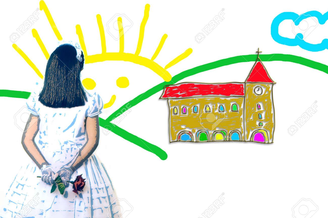 Dessin Enfantin D Une Jeune Fille Première Communion Church Road