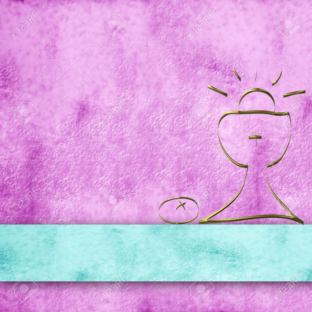 pink parchment background and simple first communion chalice Stock Photo - 12049874