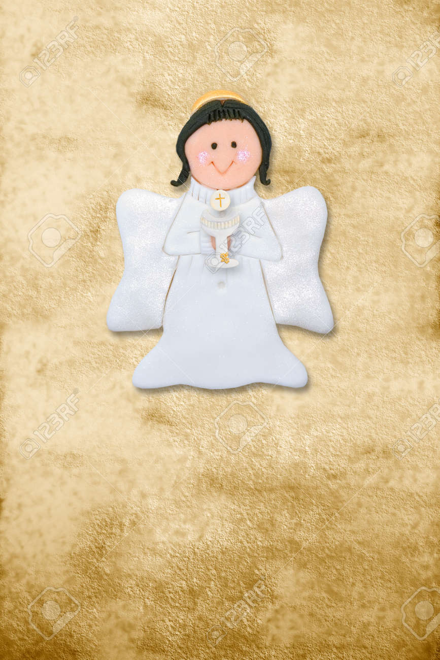 riser card, first communion angel, parchment background Stock Photo - 12049893
