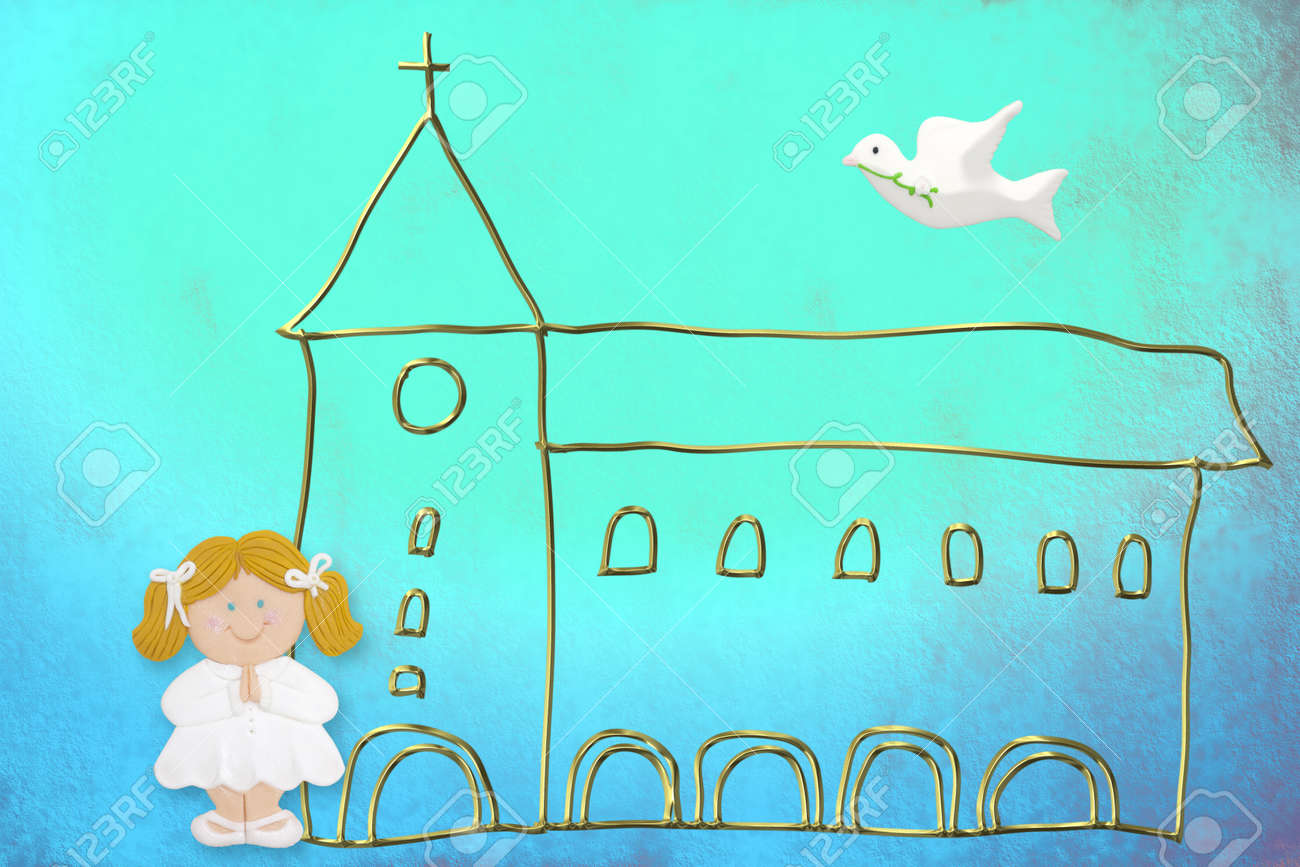 first communion card, cute blonde doll, church and dove on a blue background color Stock Photo - 12379767