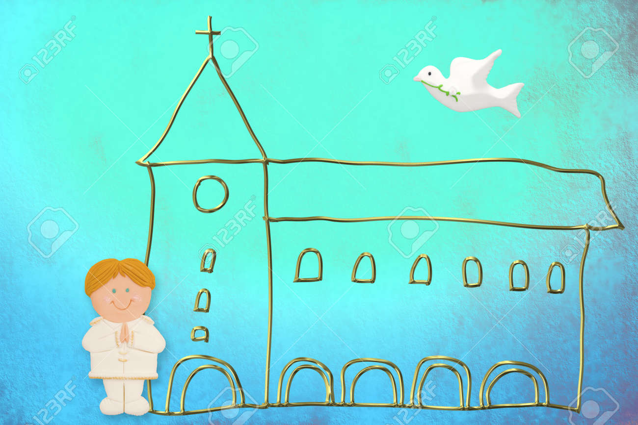 first communion card, cute blonde hair boy  sailor suit, church and dove on a blue background Stock Photo - 12379765