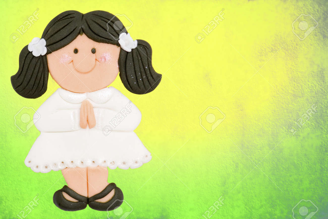 greeting invitation card, first communion girl brown, colorful background Stock Photo - 12379769