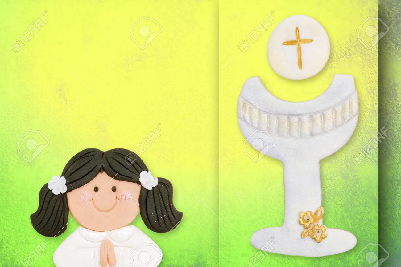 first communion greeting card, girl and chalice Stock Photo - 12379779