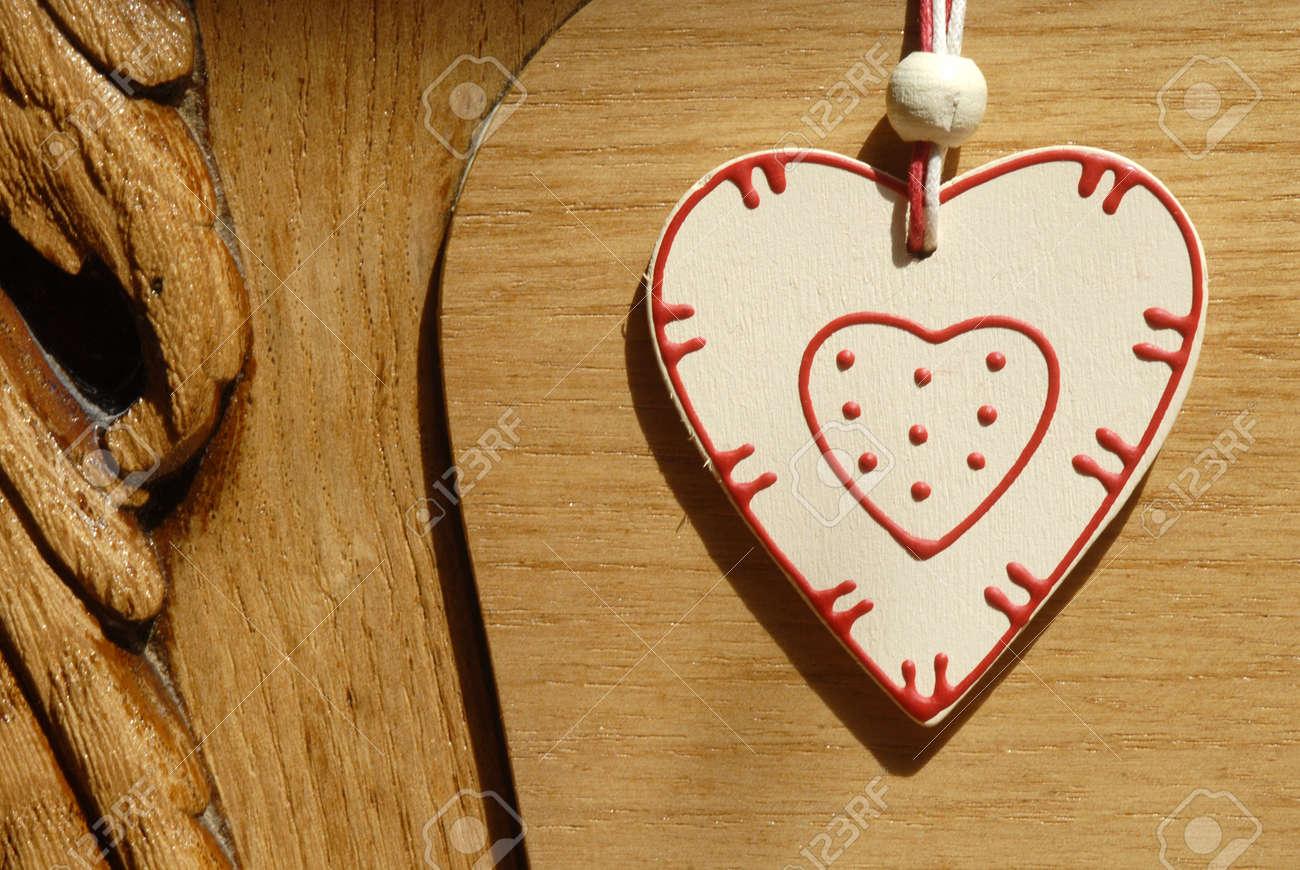 rustic heart heart hung on wooden door Stock Photo - 14813352