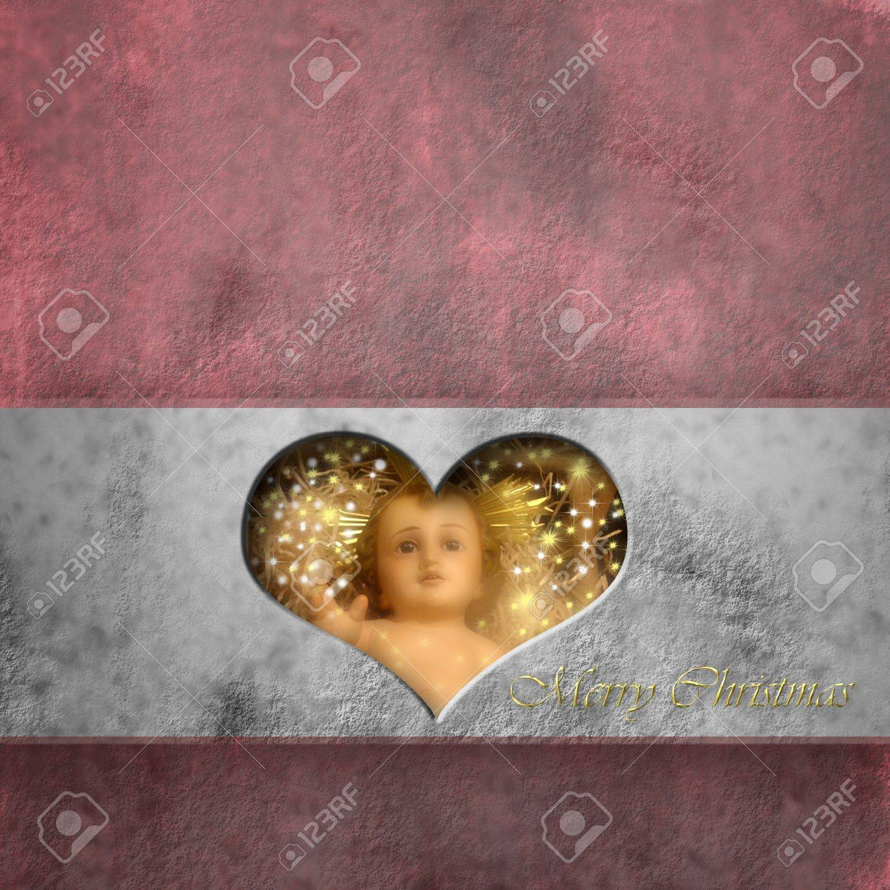 Christmas card baby Jesus in a heart, copy space Stock Photo - 16259535