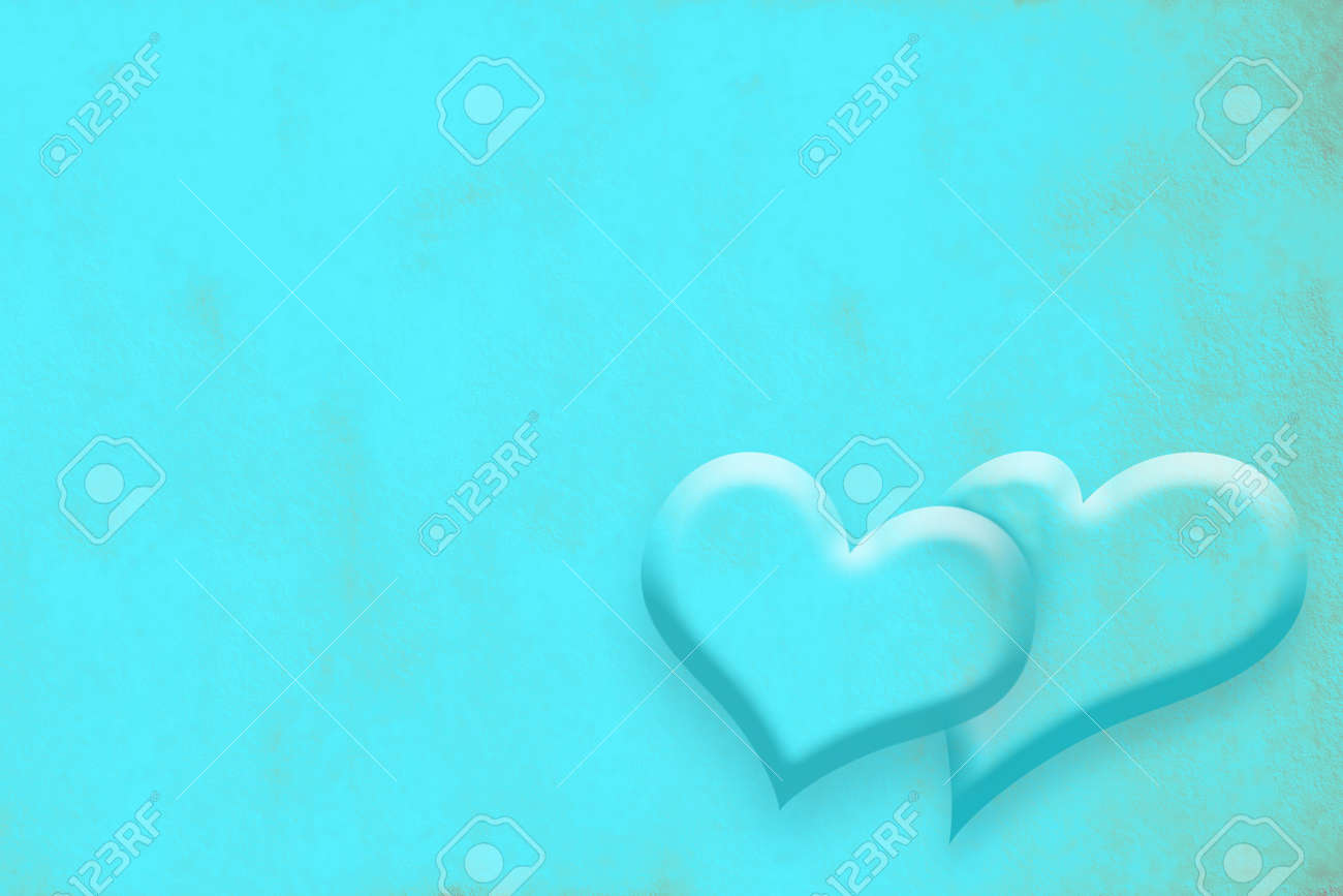 Wedding Invitation Card Hearts On Turquoise Background Stock Photo