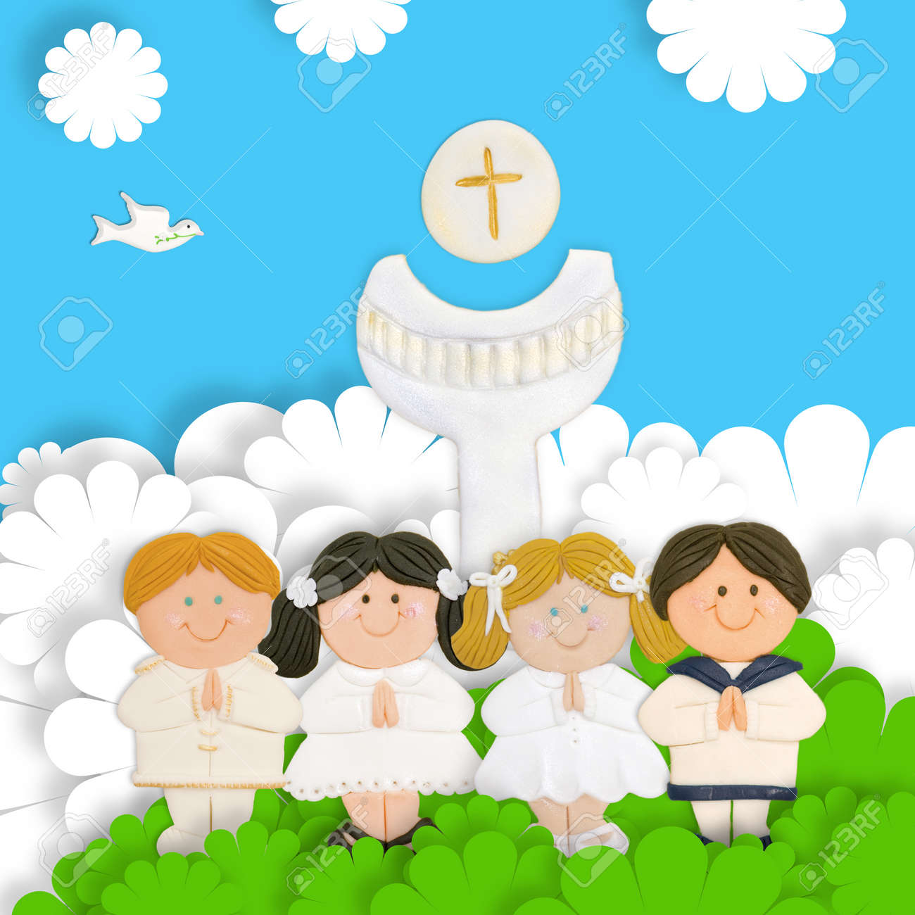 first communion card, group of children, calyx and wafer Stock Photo - 17853176
