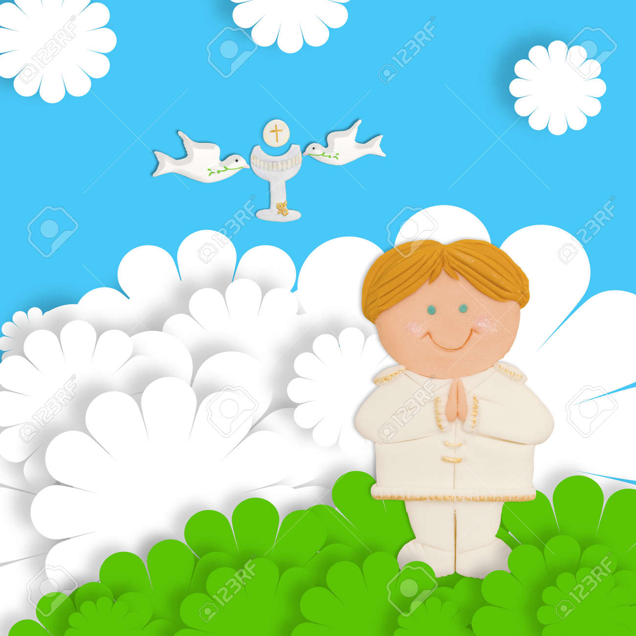 first communion card funny blond child, calyx and dove Stock Photo - 17853173
