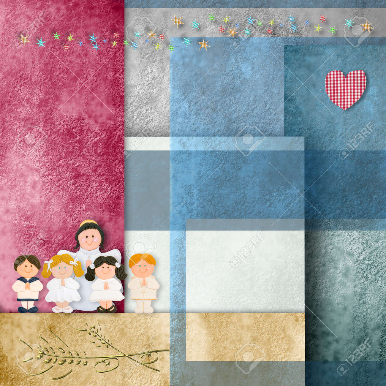 first communion card, children and angel, in cheerful background papers Stock Photo - 18381503
