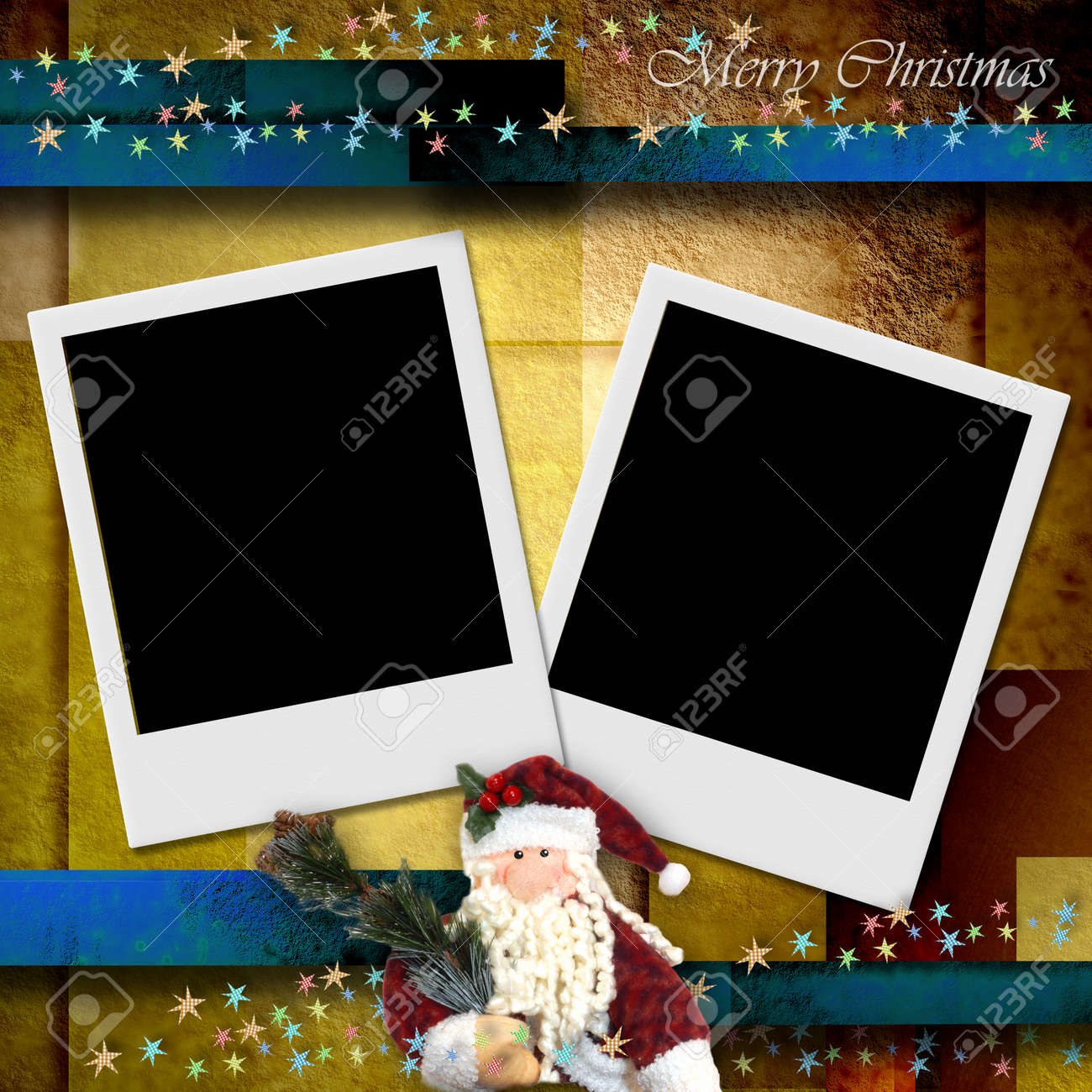 photo frame merry christmas card, empty two photos and Santa Stock Photo - 23560987