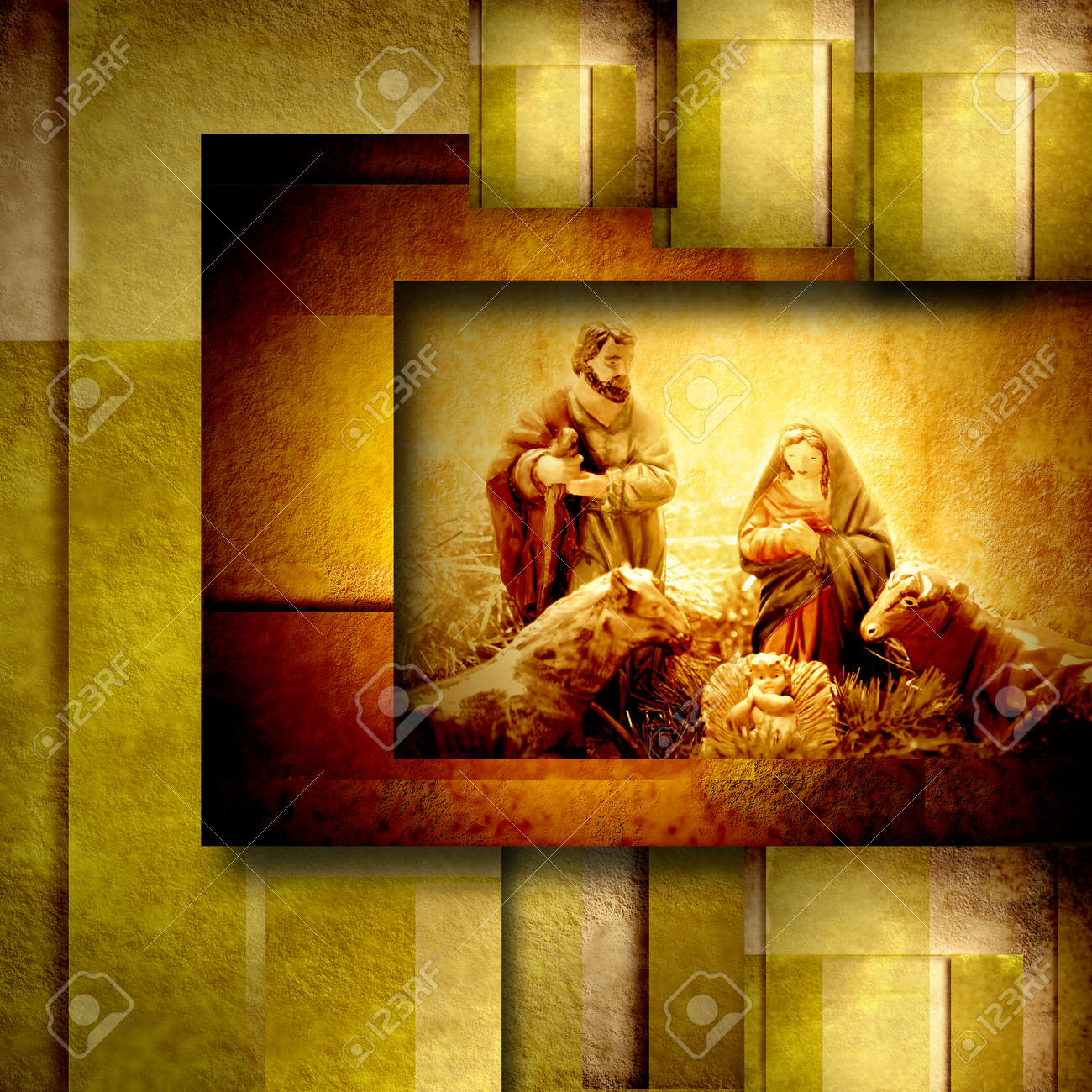 Religiöse Weihnachtskarten.Stock Photo