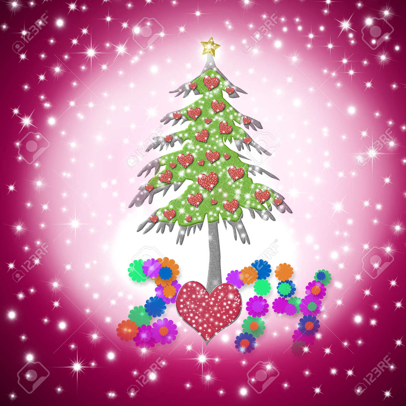 Lovely christmas greeting card 2014 with shiny hearts tree on lovely christmas greeting card 2014 with shiny hearts tree on starry pink sky background stock photo m4hsunfo Images