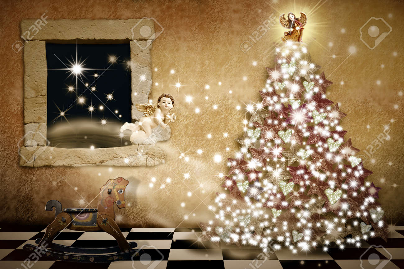 Merry Christmas Card Vintage Style, Christmas Tree Inside The ...
