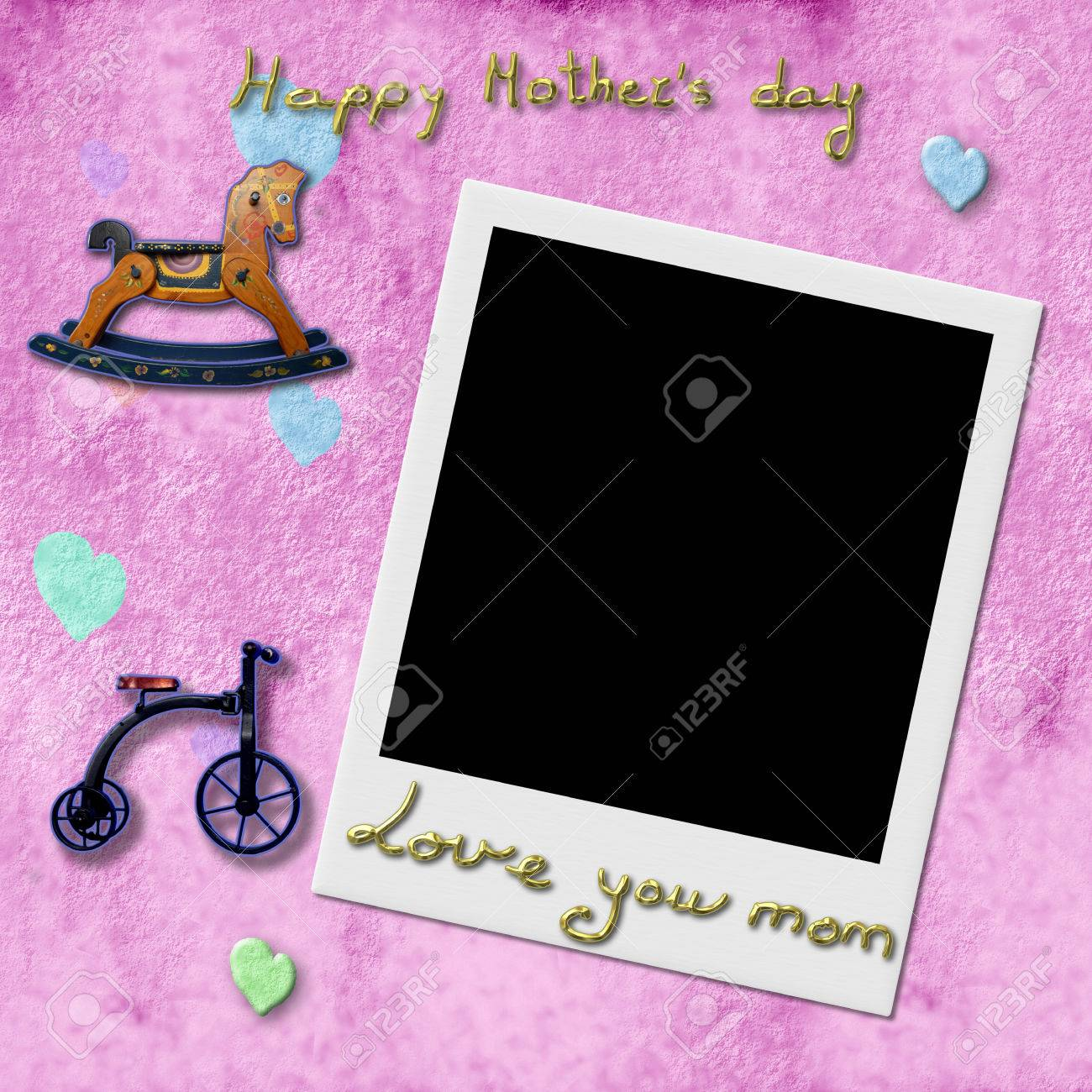 Happy Mothers Day Love You Mom Instant Photo Frame In Pink Stock
