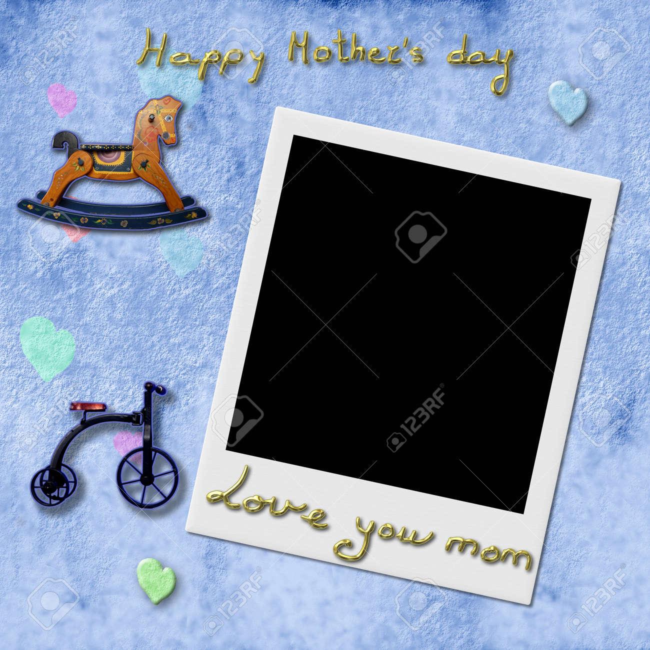 Feliz Día De La Madre Te Quiero Mamá, Frame Foto Inmediata En Fondo ...