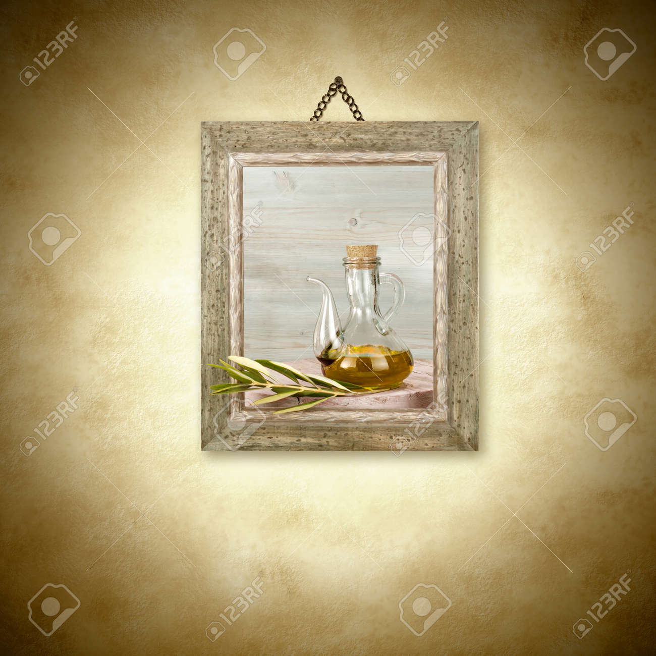 Olive Oil In Glass Jar, Picture Hanging On The Wall Decoration ...
