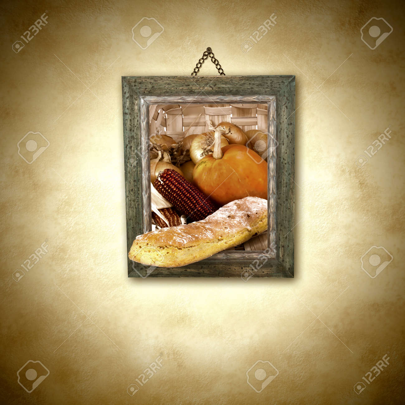 Loaf Of Bread And Harvest, Picture Hanging On The Wall Decoration ...