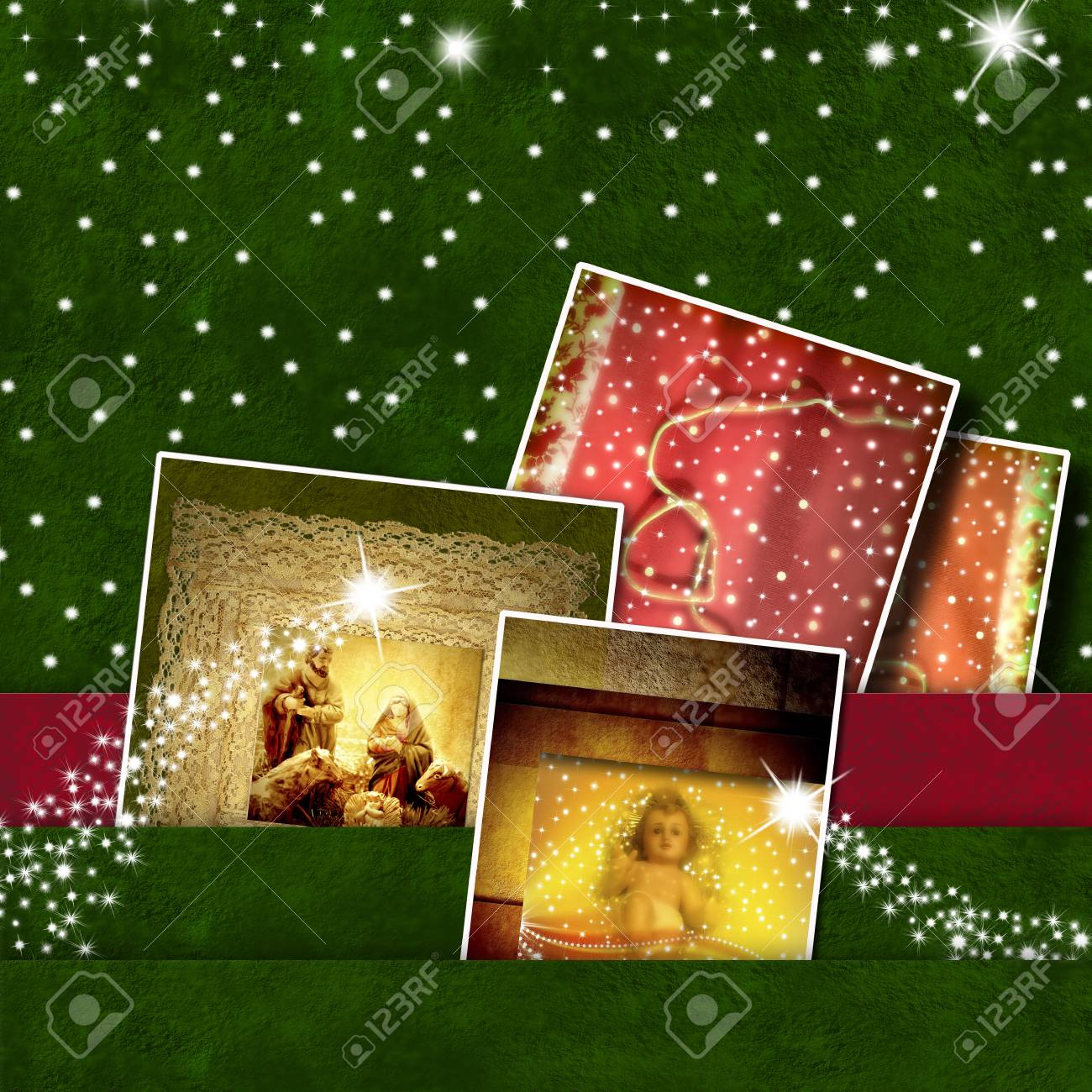 Christmas Cards, Panel With Photos Of Baby Jesus And Nativity ...