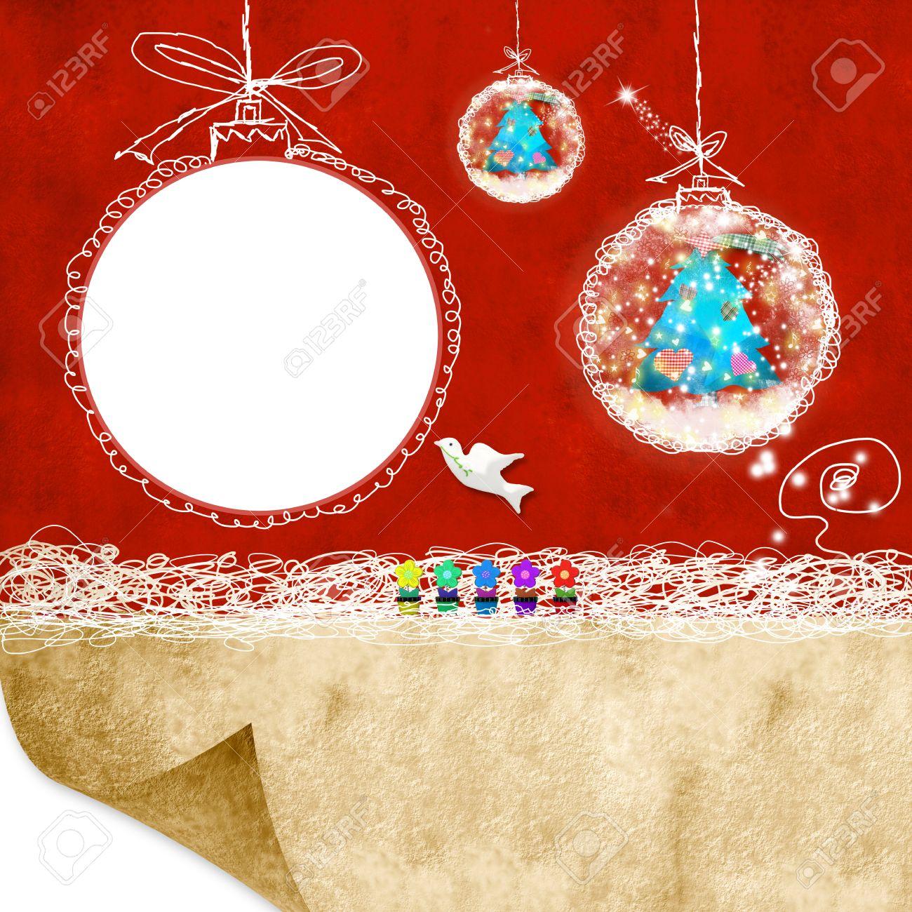 Tarjeta De Navidad Con El Marco Vacío Y El Espacio En Blanco Para ...