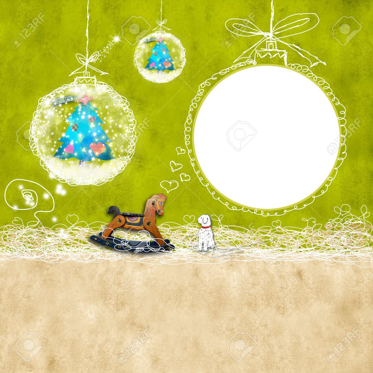 Weihnachten Hintergrund Mit Fotorahmen Kinder Und Niedliche ...