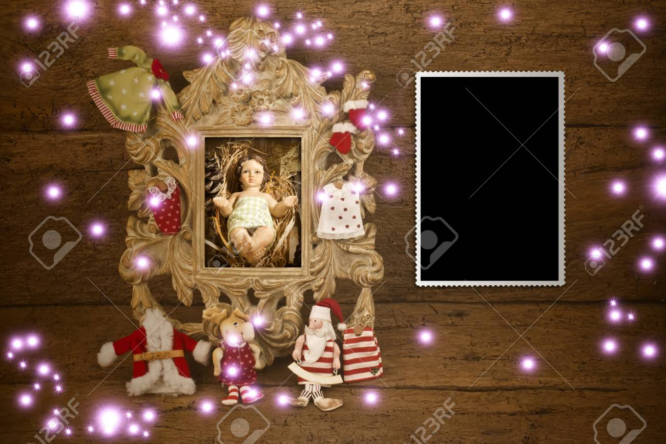 Christmas Cards, Baby Jesus Picture And Vintage Empty Photo Frame ...