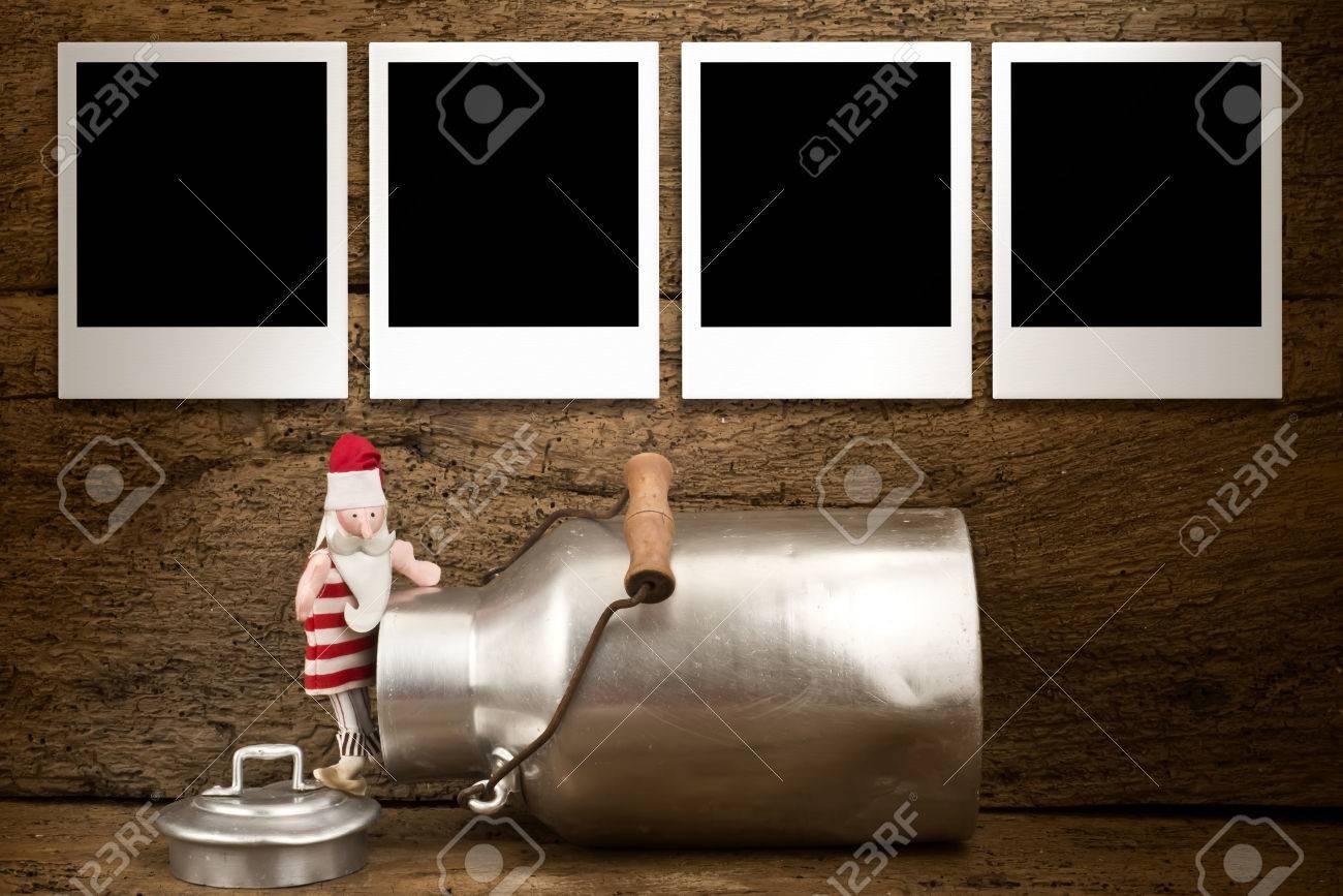 Weihnachten Fotos Rahmen Karte, Funny Santa Und Milch Kann Mit Vier ...