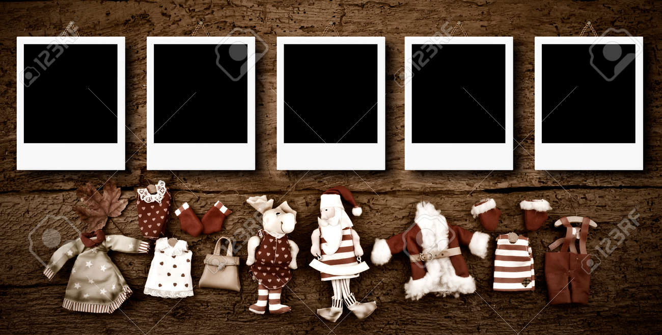 Weihnachten Fotorahmen Karten, Fünf Leere Instant Bilderrahmen ...