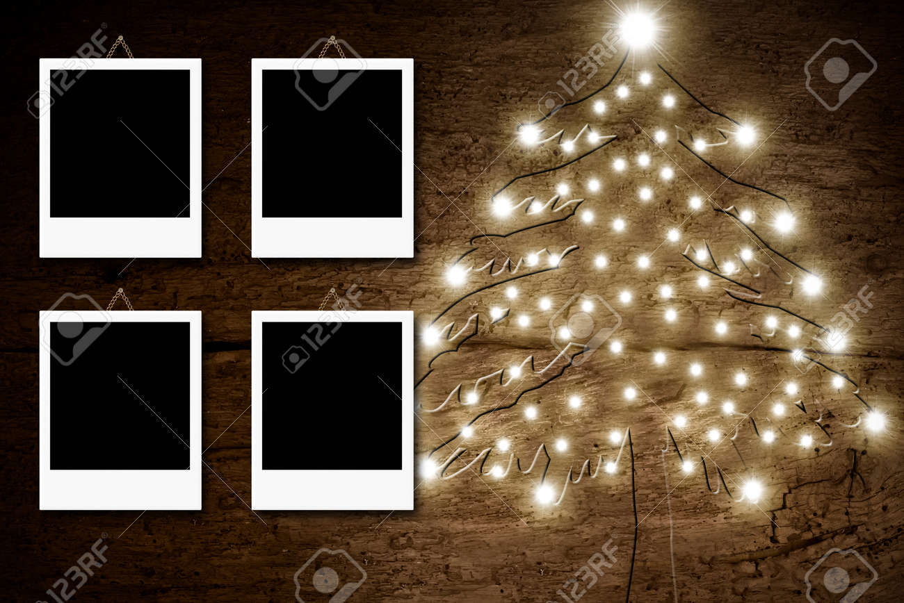 Rustic Christmas Card, Christmas Tree With Four Empty Photo.. Stock ...