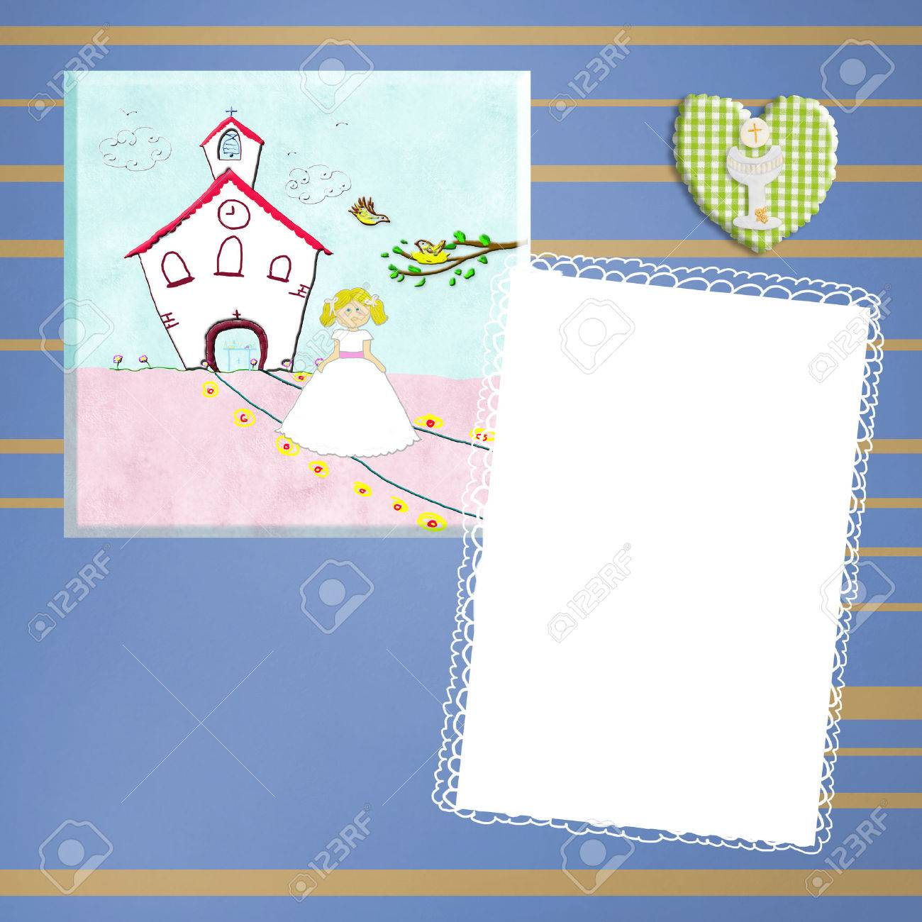 First holy communion invitation card with blank picture frame first holy communion invitation card with blank picture frame and empty space to write dates stopboris Image collections