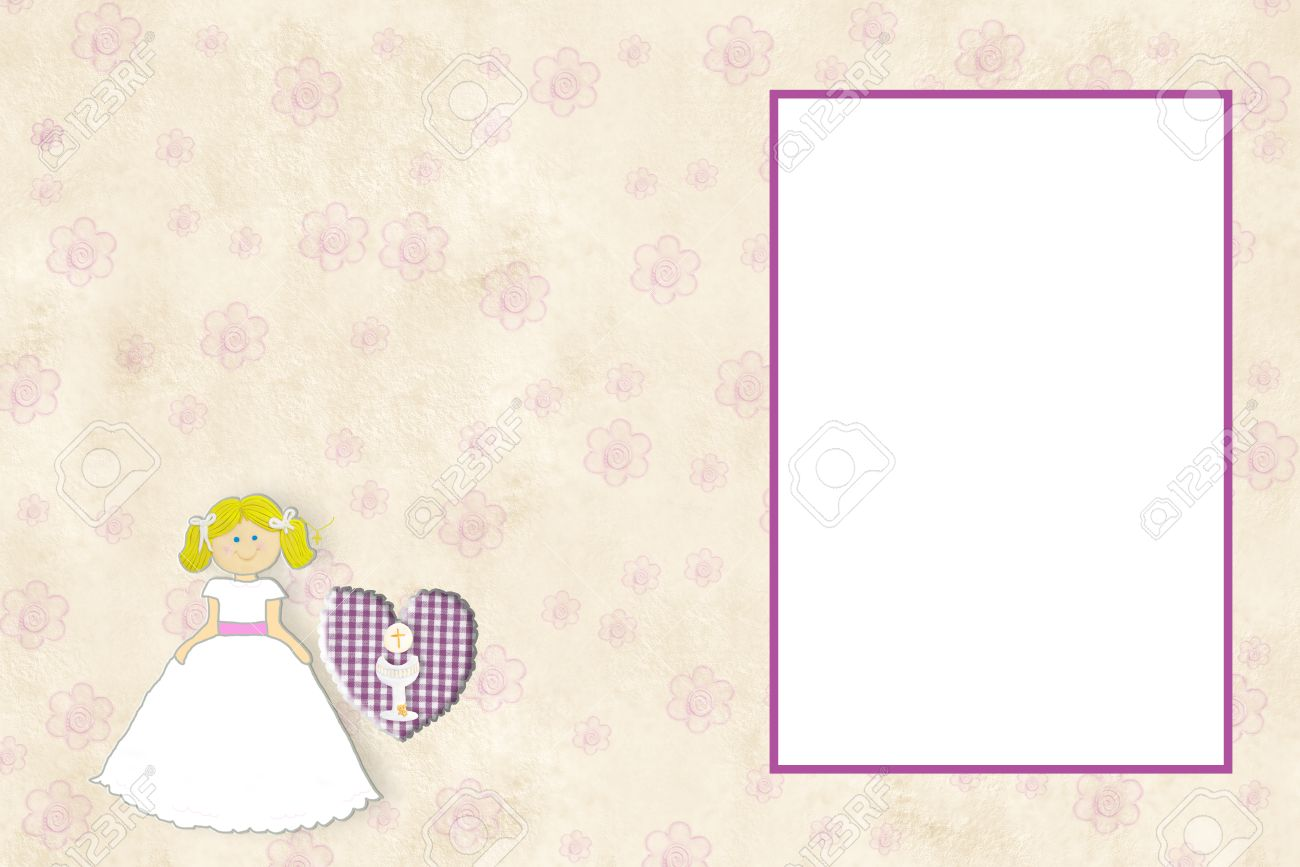 My first communion invitation card blonde girl with empty frame my first communion invitation card blonde girl with empty frame to put a photo and space stopboris Image collections