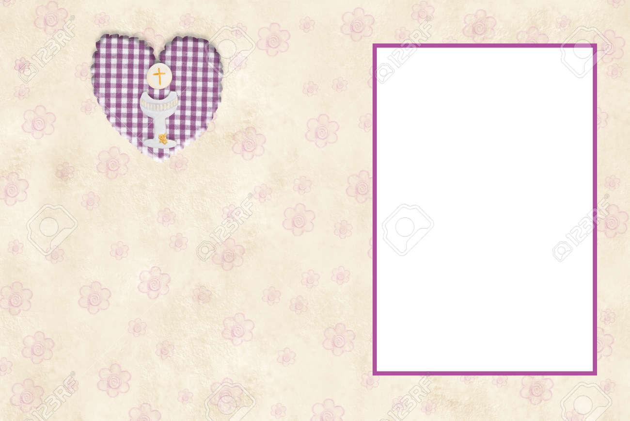 Image Pour Mettre Dans Un Cadre ma carte d'invitation pour la première communion fille avec cadre vide pour  mettre une photo et de l'espace pour l'écriture