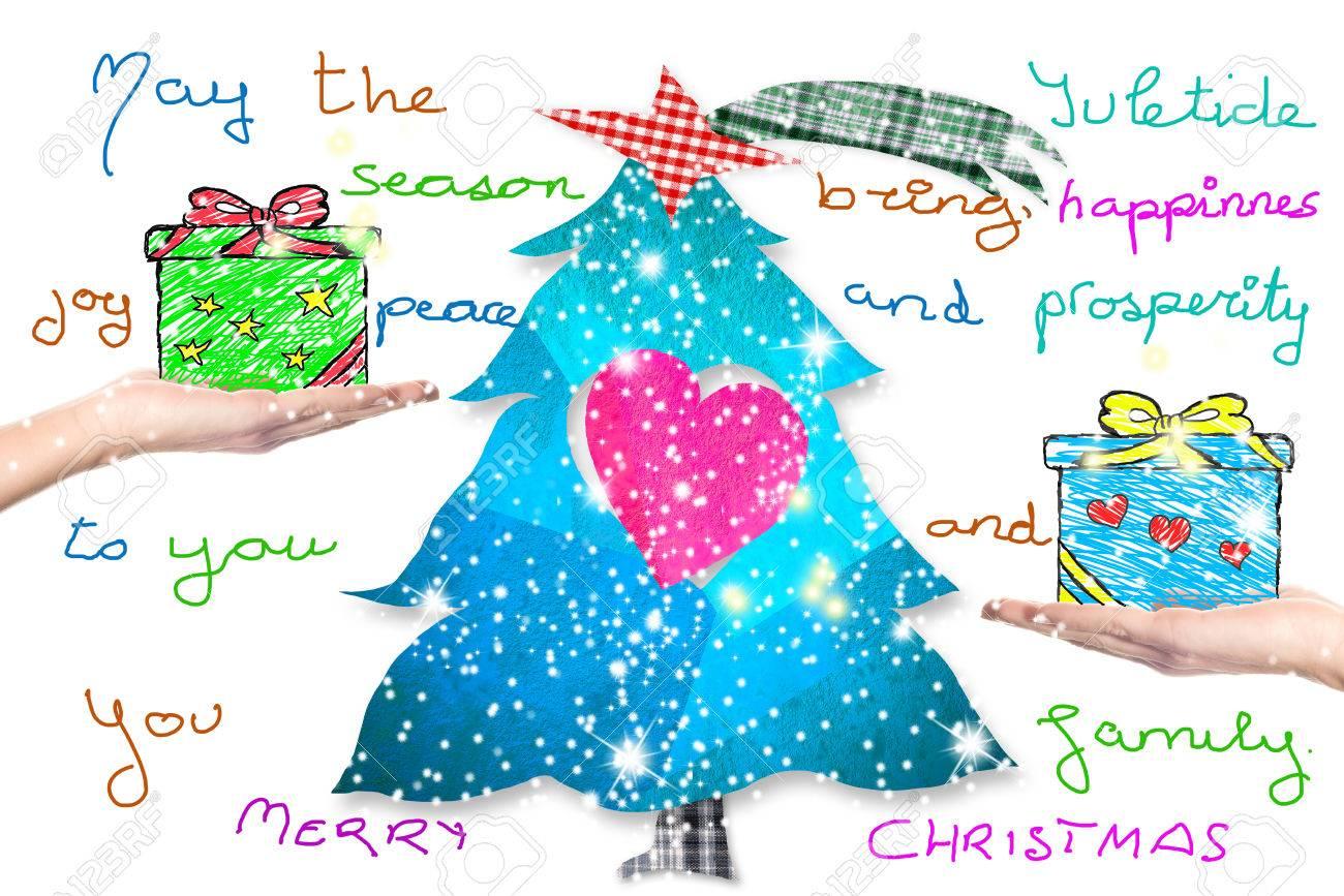 Christmas Greeting Postcard Tree Gifts And Children Handwriting