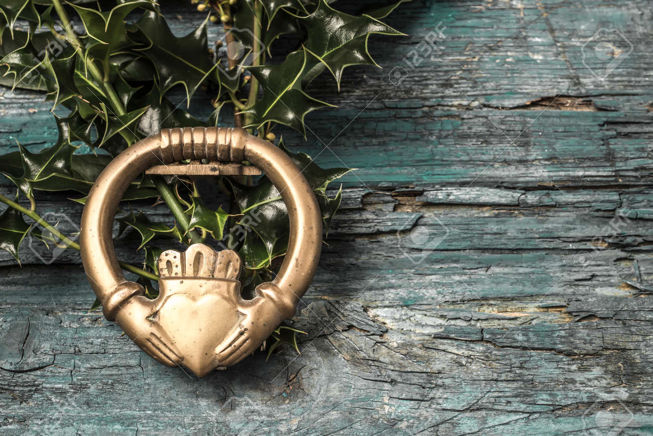 Claddagh And Holly Branches Irish Symbol Of Love Friendship And