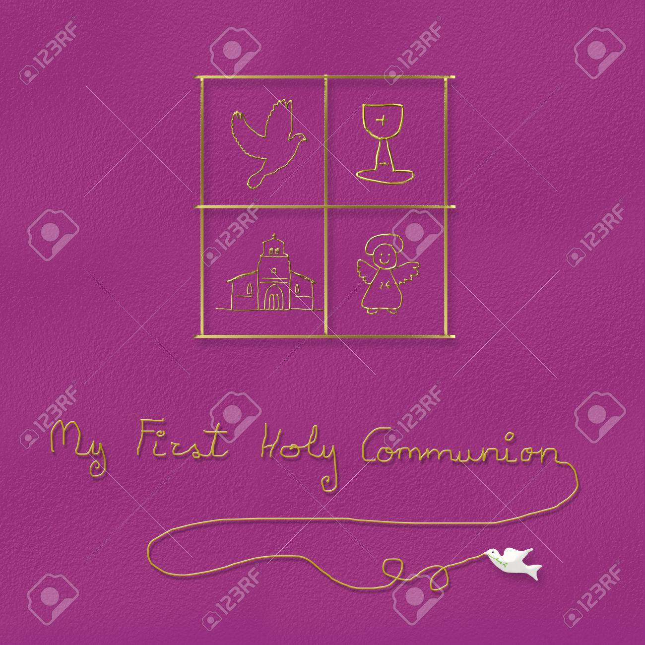 My First Holy Communion Children Religious Symbols In Pink Stock