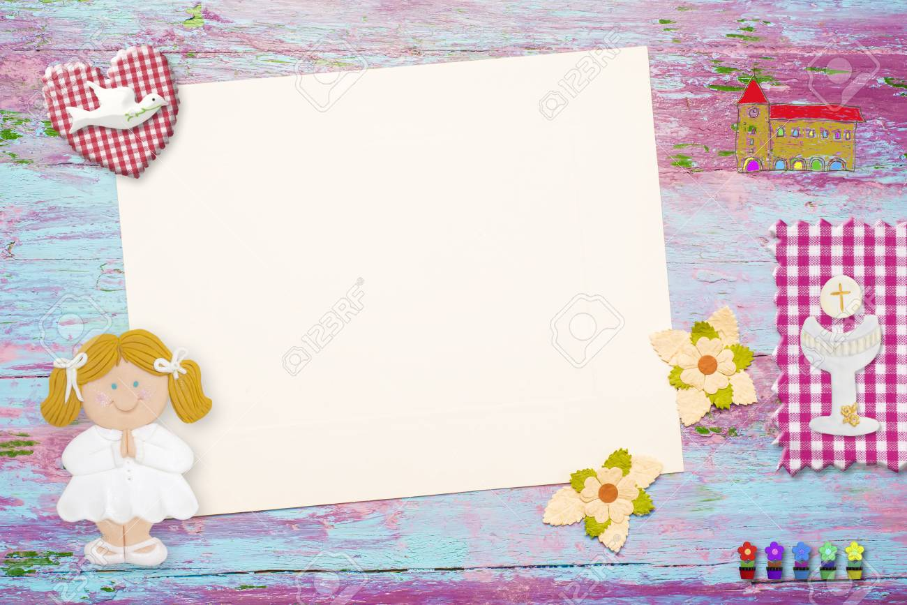 First Holy Communion Invitation Background For Girl Religious