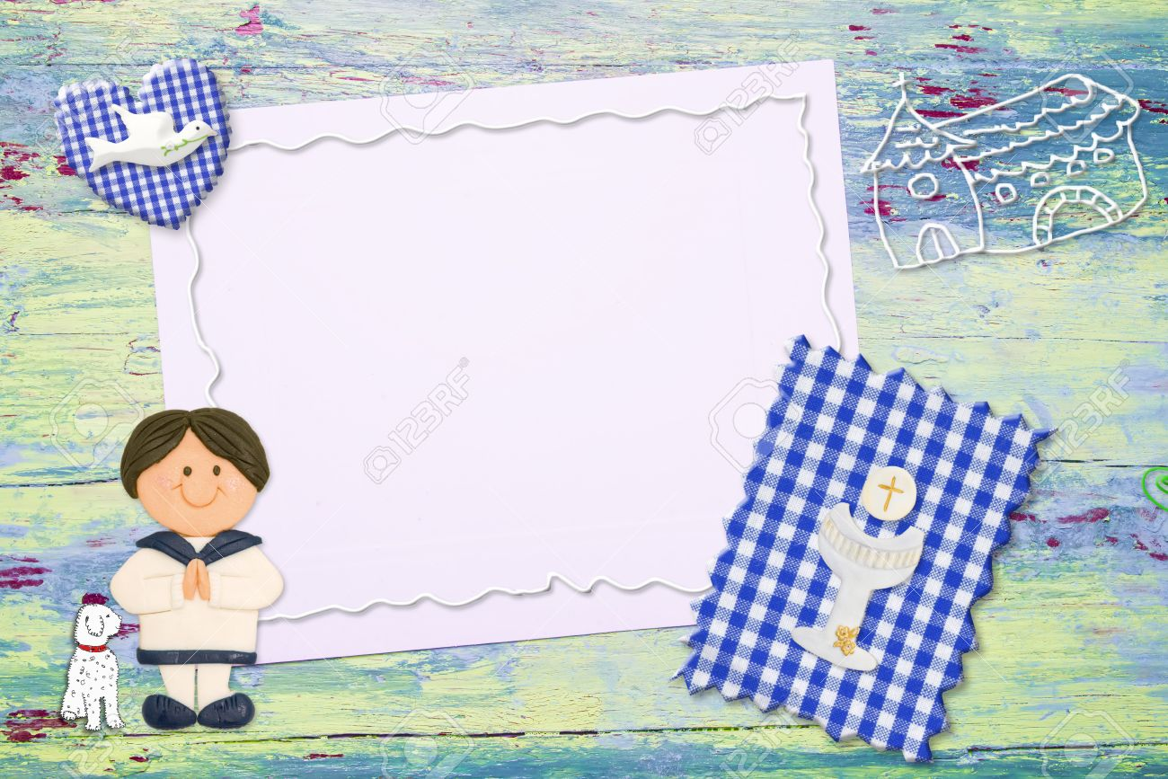 First Holy Communion Invitation Background Brunete Boy Religious