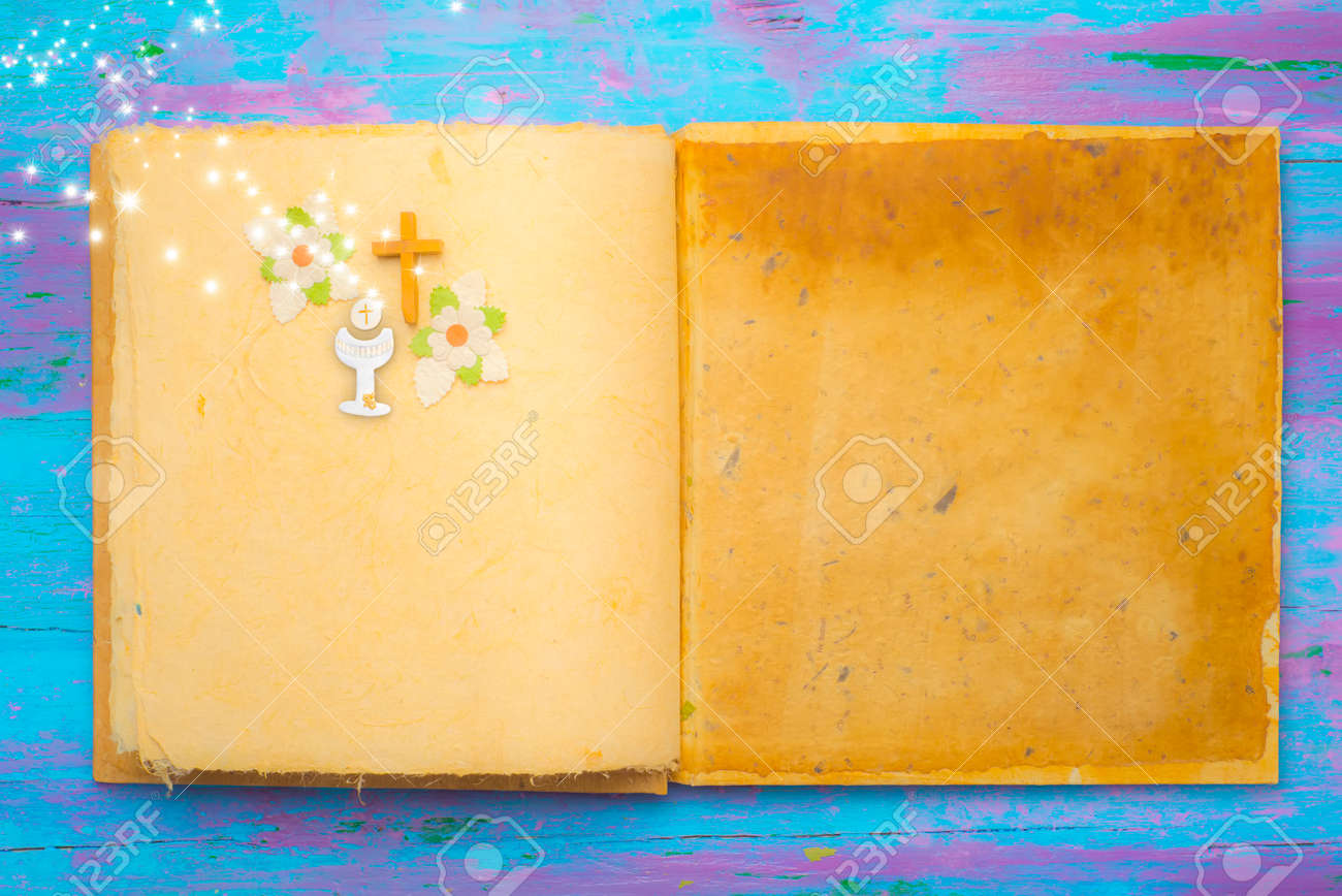 First holy communion background empty book with religious symbols first holy communion background empty book with religious symbols with copy space fot message and buycottarizona Image collections