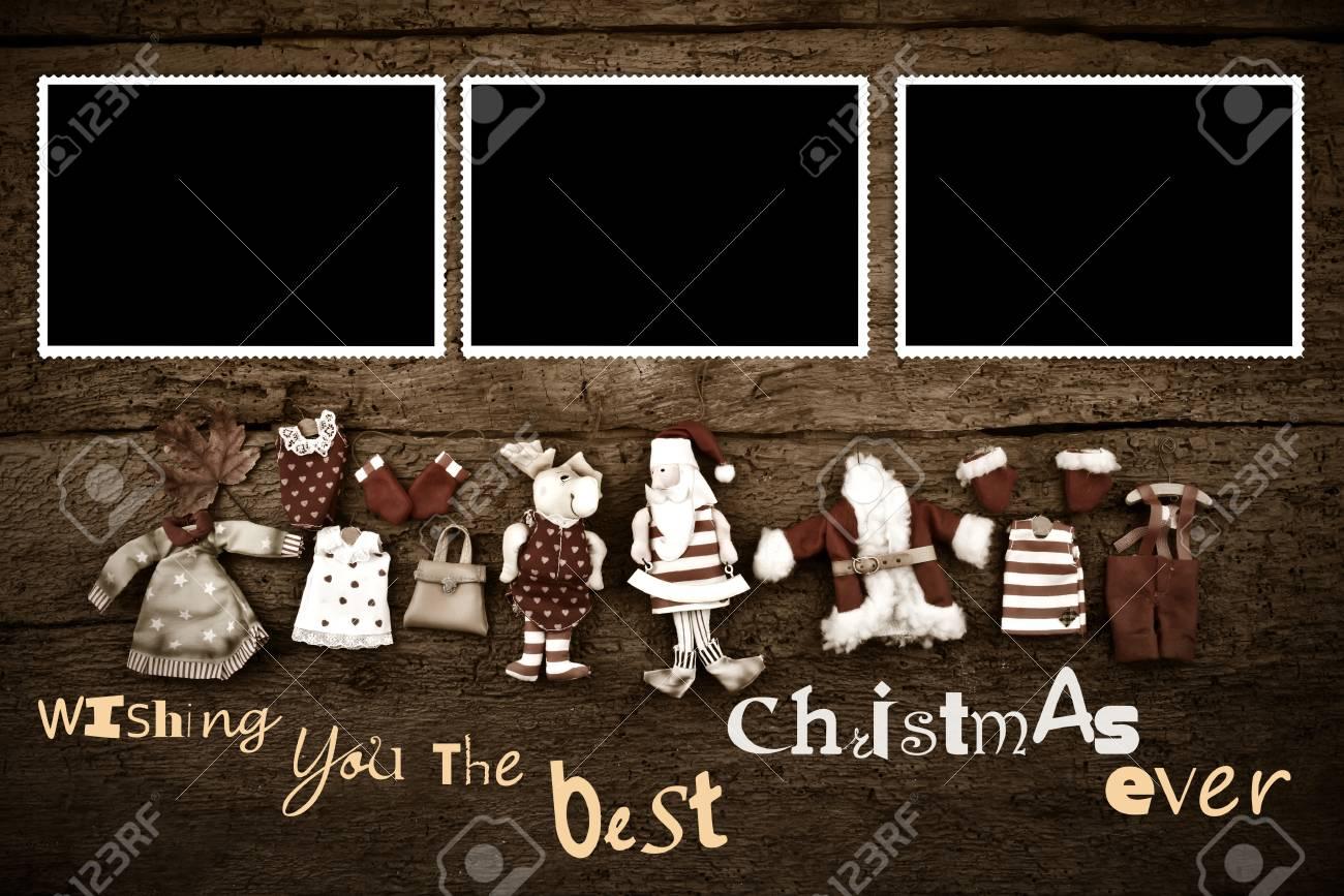 Weihnachtsbilderrahmen-Karte Mit Begrüßung, Santa Dekoration Und ...