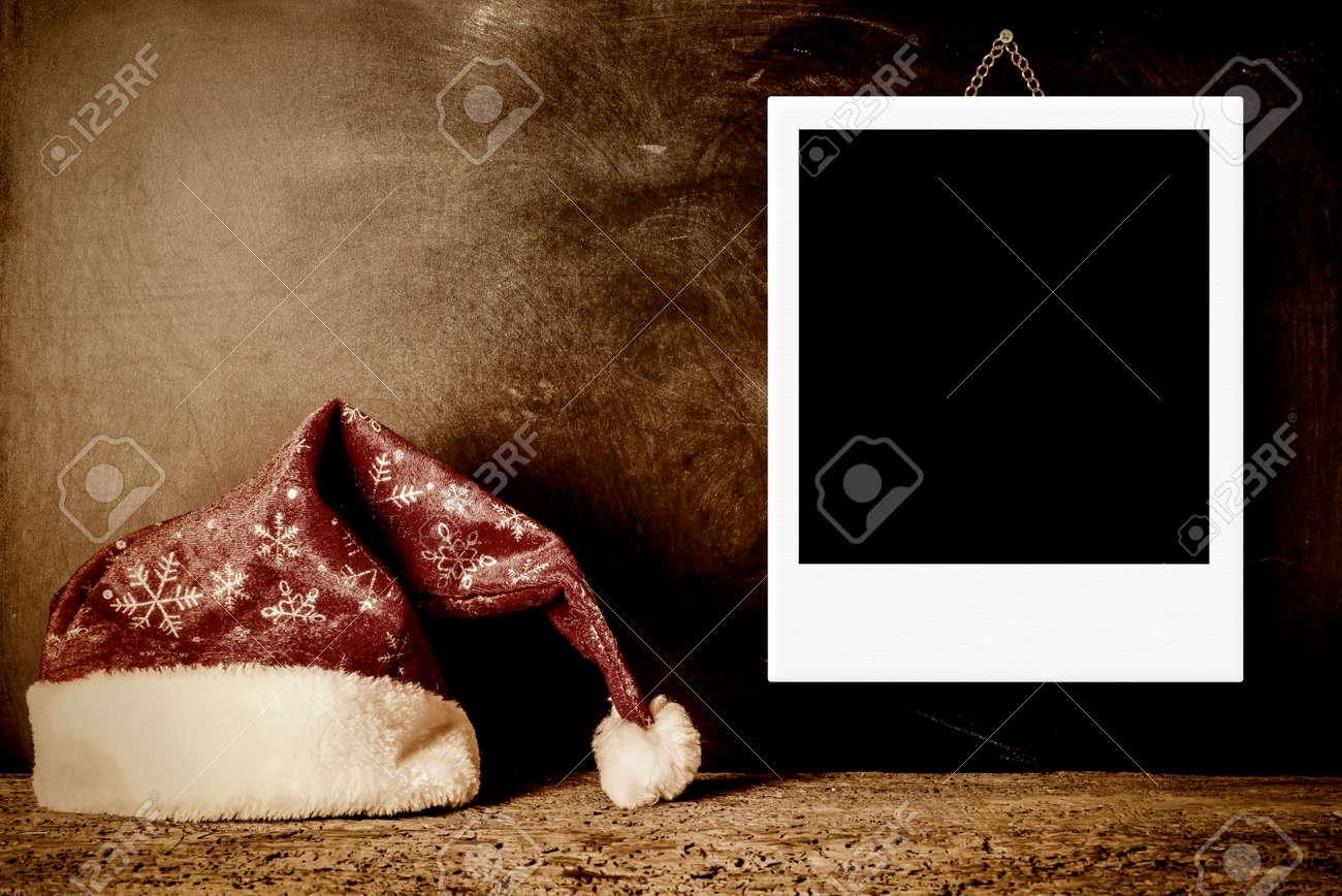 Weihnachtskarten, Vintage Sankt-Hut Mit Einem Leeren Bilderrahmen ...