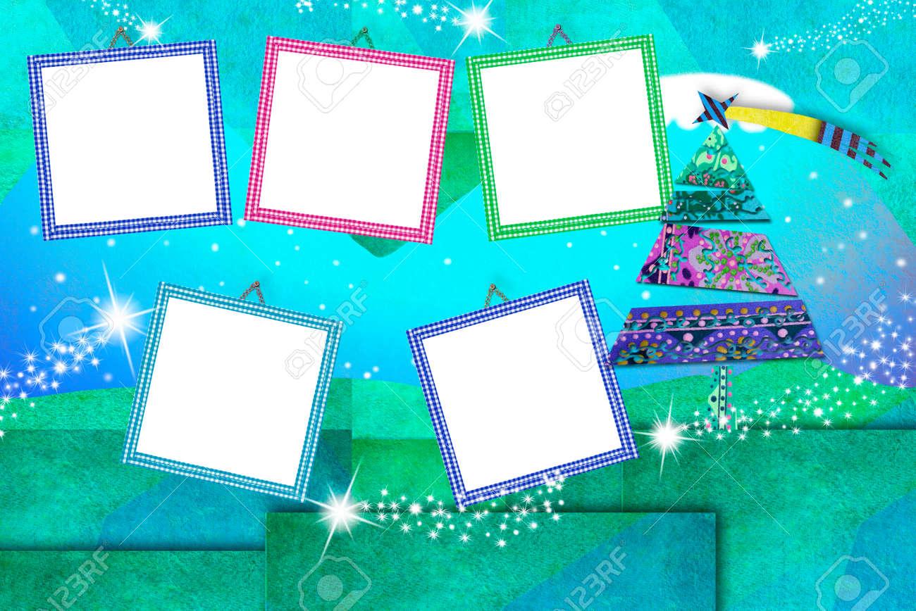 Weihnachten Fotorahmen Karten, Fünf Leere Rahmen, Um Fotos Und ...