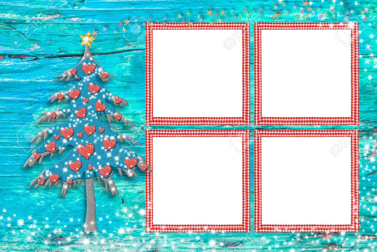 Weihnachten Bilderrahmen Karten, Niedlichen Baum Und Vier Leere ...