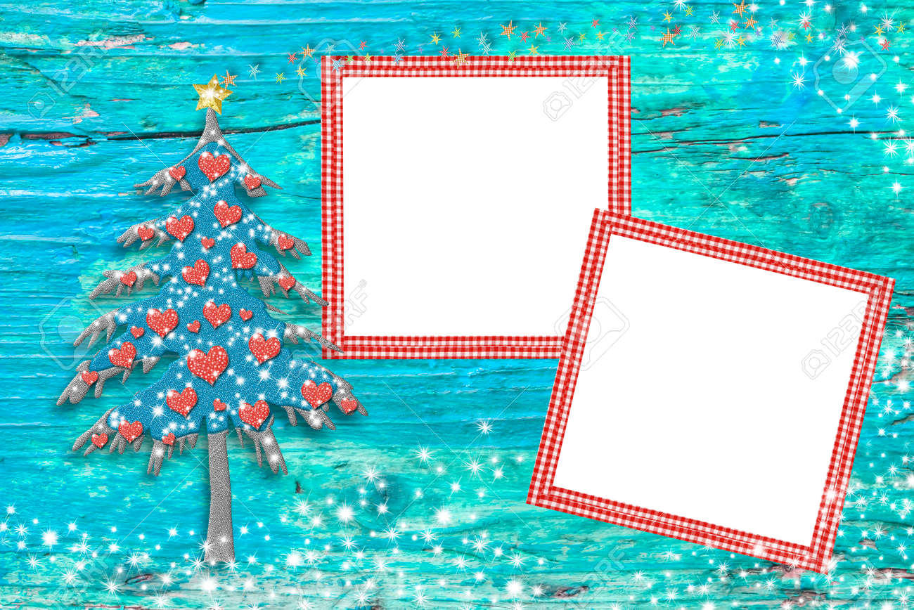 Marcos Para Fotos De Arbol De Navidad.Foto Marcos De Navidad Tarjetas De Arbol Linda Y Dos Cuadros En Blanco Para Poner Fotos Sobre Un Fondo De Madera Azul Con Estrellas