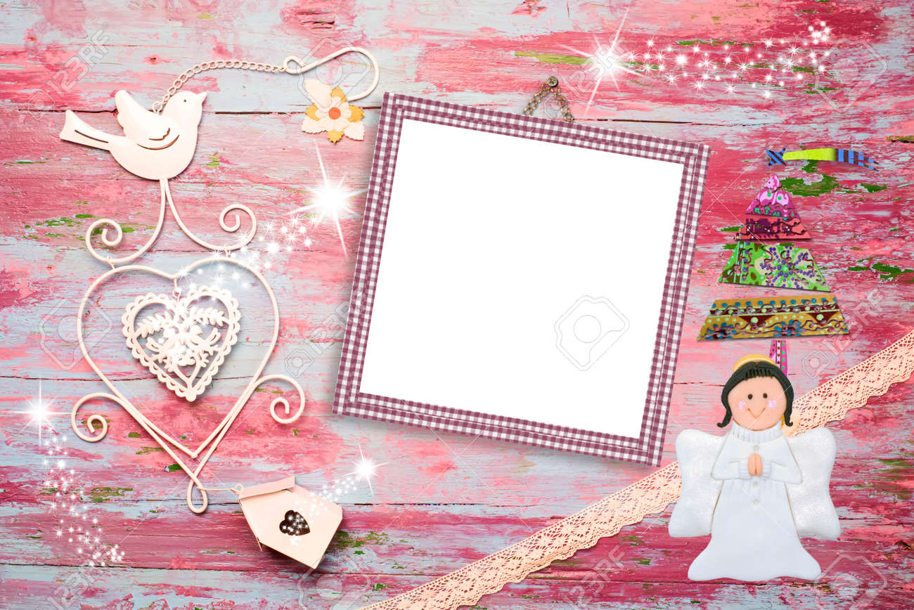 Christmas Photo Frame Cards, Pink Empty Photo Frame For Baby.. Stock ...