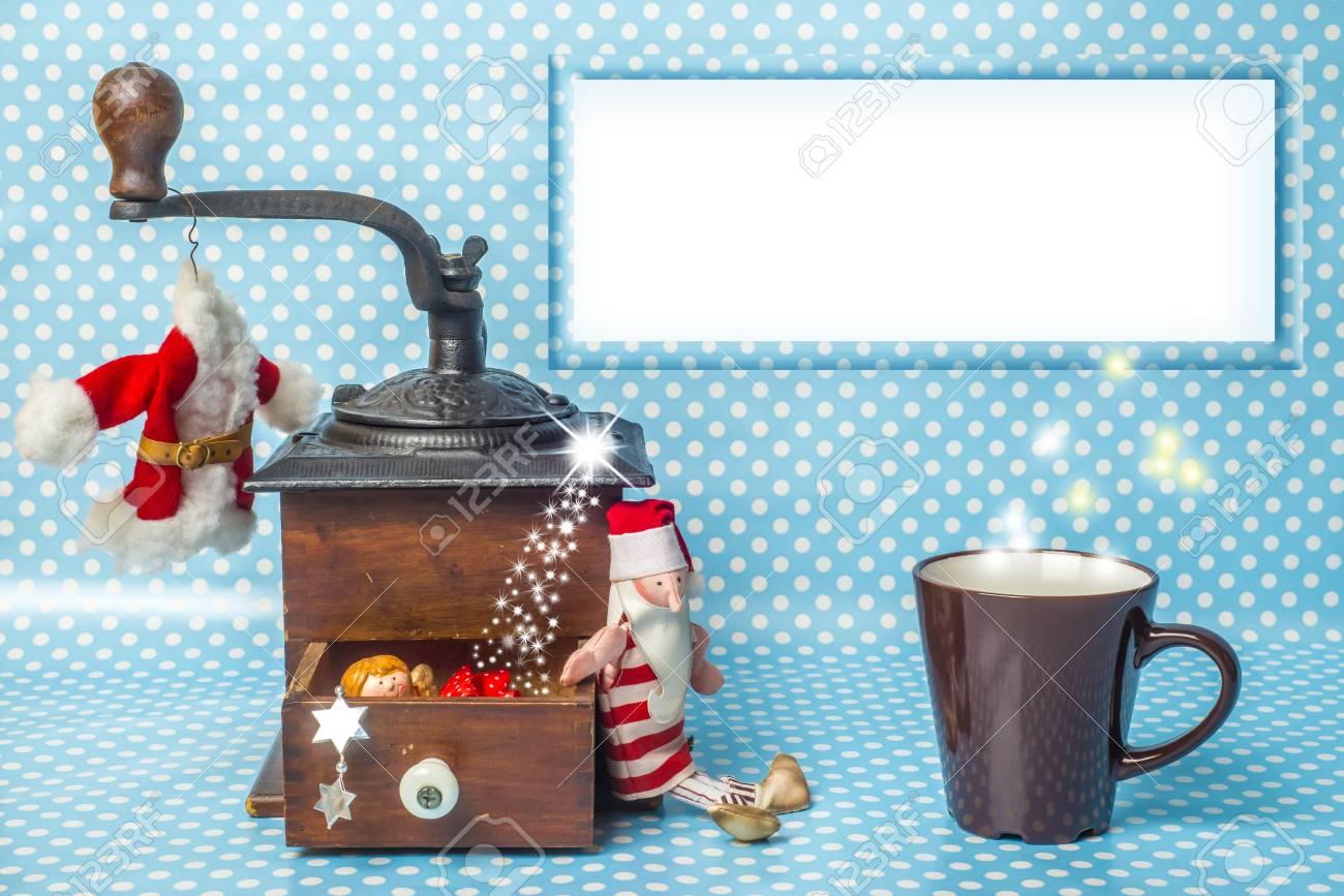 Weihnachten Leere Rahmen Grußkarte, Vintage Kaffeemühle, Tasse ...