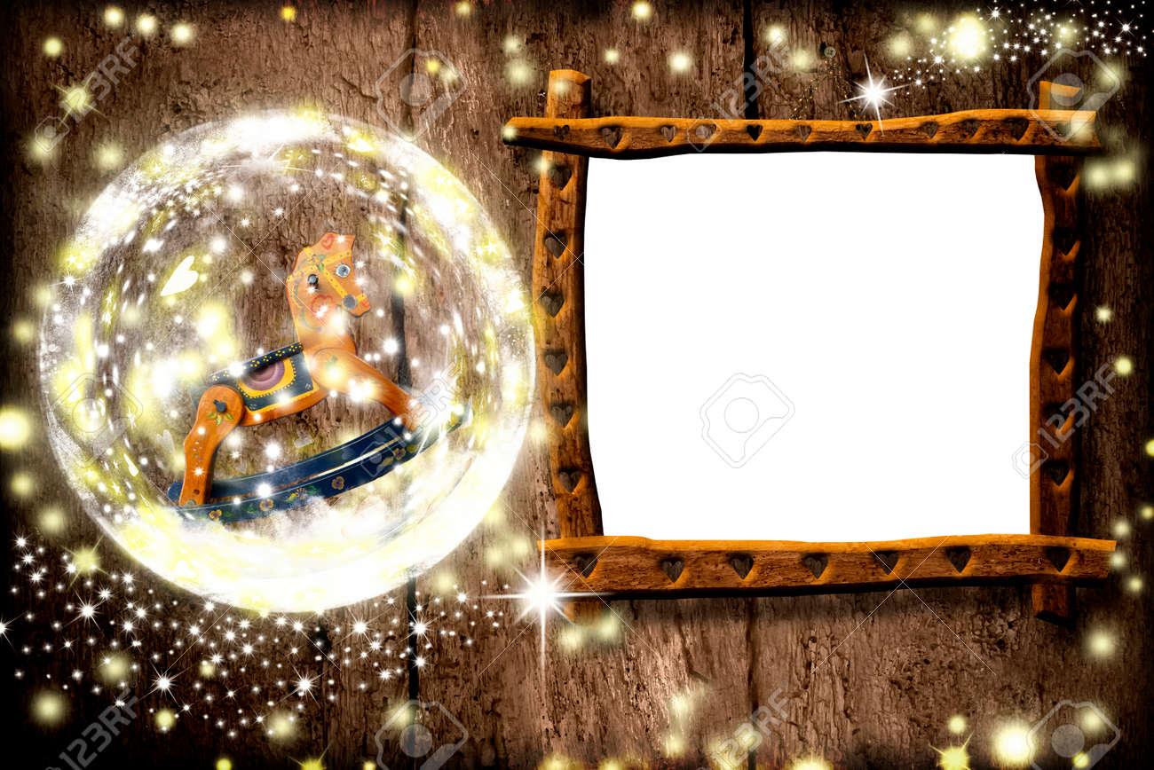 Foto De La Navidad Tarjetas De Bastidor, Rústico Marco Fotográfico ...