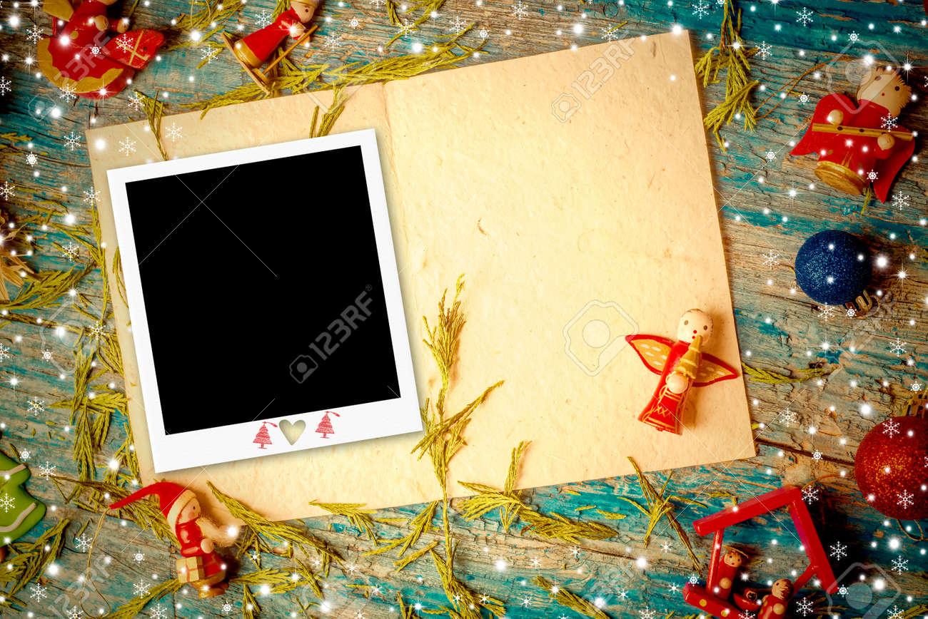 Weihnachten Fotorahmen Grußkarte, Hübsch Rustikalen Ornamenten Und ...