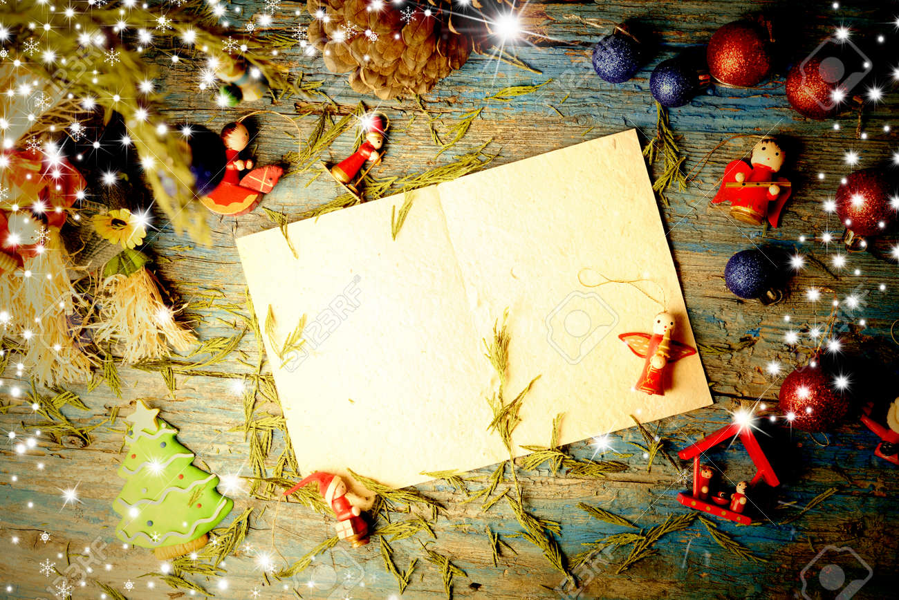 Christmas Blank Letter To Write Message Surrounded Cute Christmas