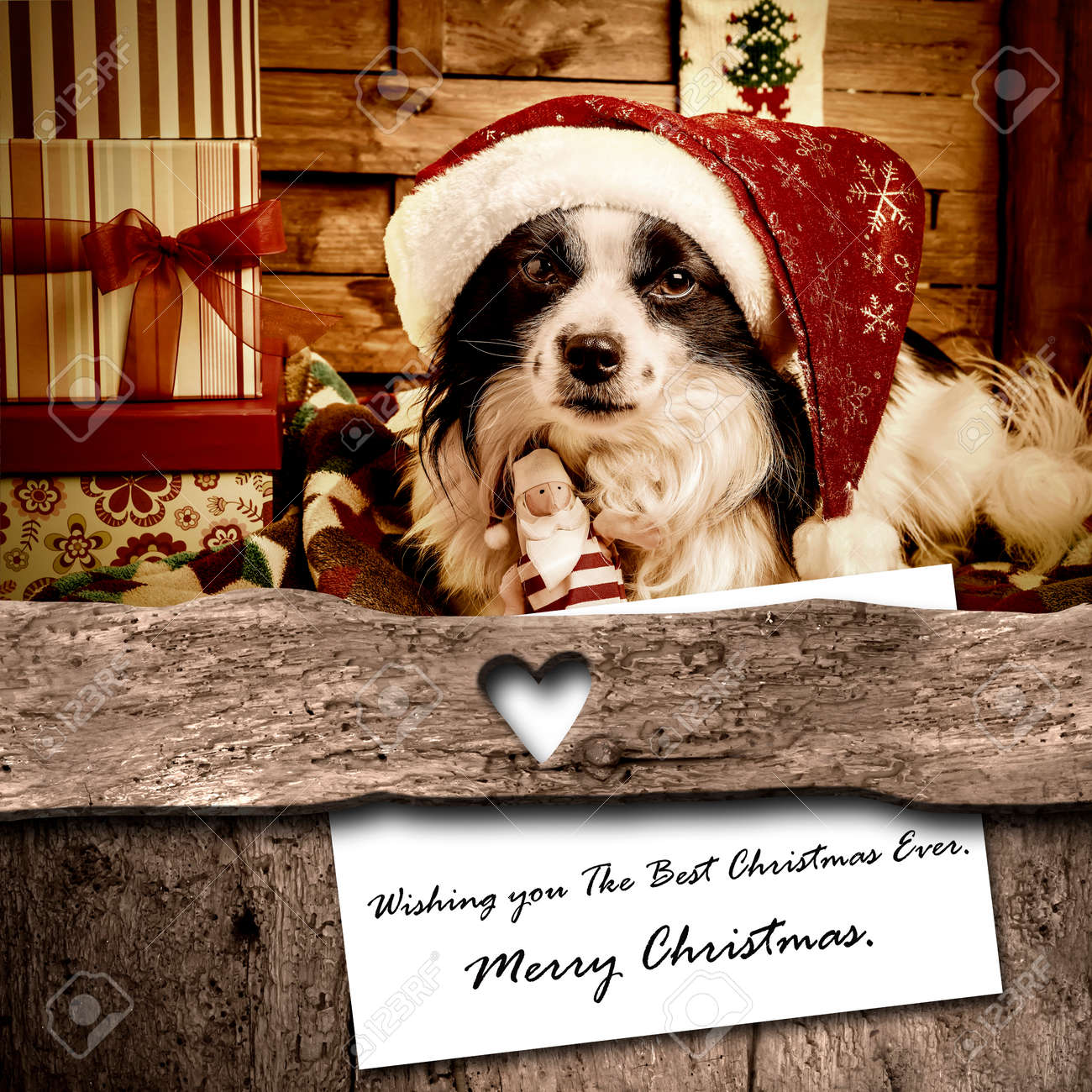 Dog And Santa Christmas Card Composition, Cute Dog, Gift Boxes ...