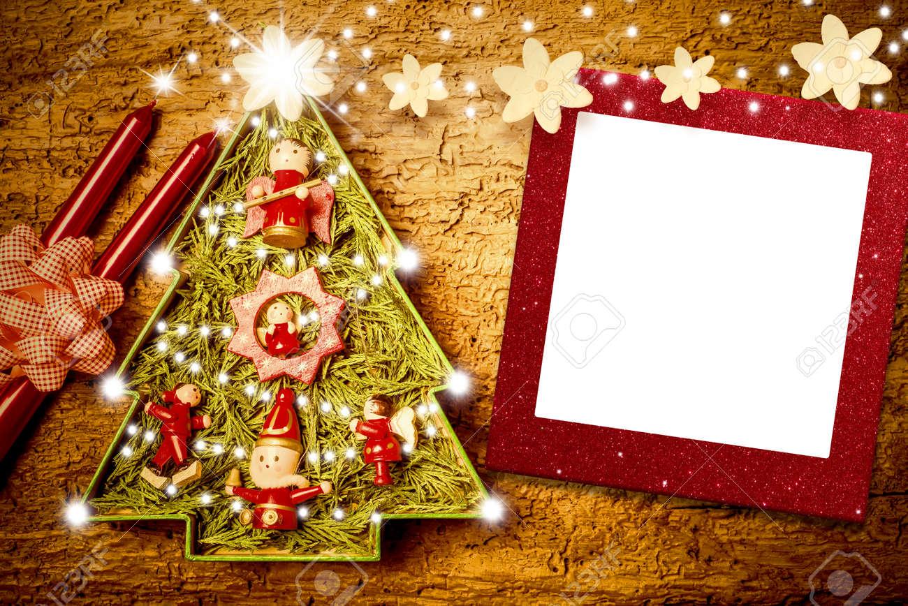 Weihnachten Fotorahmen Karten, Fröhlich Baum, Kerzen Und Blumen Mit ...