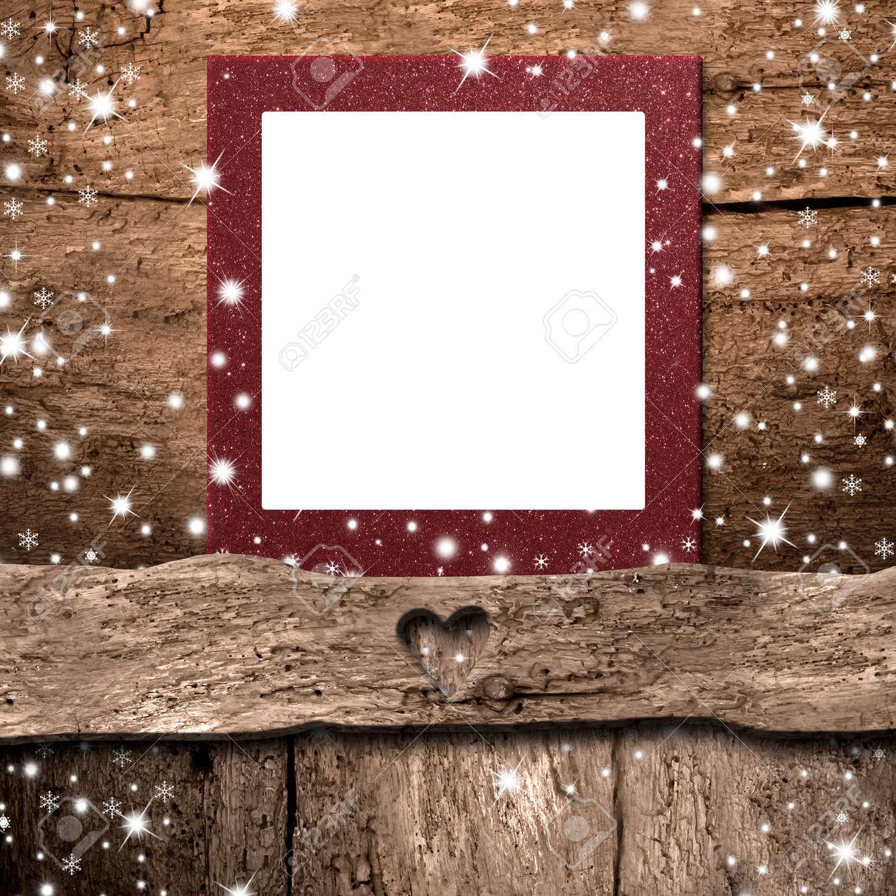 Weihnachten Leer Fotorahmen Karte, Leeren Rahmen Auf Rustikale Wand ...
